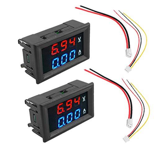 Huante 2 Piezas VoltíMetro Digital AmperíMetro 100V 10A AmperíMetro Voltaje Medidor de Corriente Probador Azul + Rojo Panel de Pantalla LED Dual con Cables de ConexióN