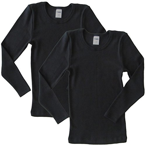 HERMKO 62830 2er Pack Kinder langarm Funktionsunterhemd, Farbe:schwarz, Größe:152