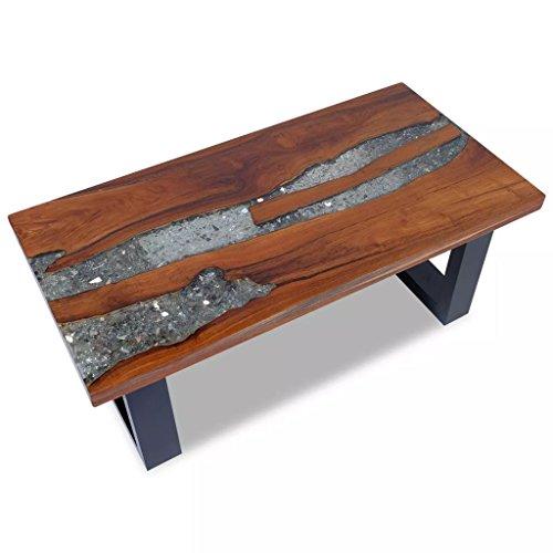 VidaXL teak massief houten salontafel bijzettafel woonkamertafel hars 100x50 cm, meerkleurig, één maat