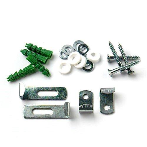 Bulk Hardware BH02269 Set per Appendere Specchi, Clip Regolabile, con Elementi di Fissaggio, Bianco