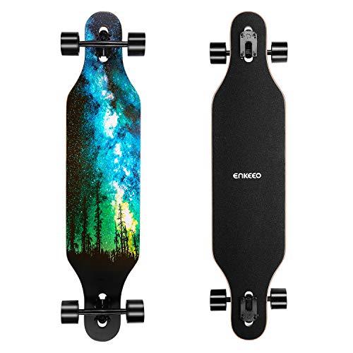 ENKEEO Longboard 9 Strati di Acero Flessibile Skateboard Drop Through 104cm Cuscinetti ABEC-11 per Carving Downhill Cruising Freestyle Riding, Stella