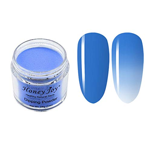 28g/Box Blue and White Temperature Color Change Dip Powder Nails Dipping Nails Long-lasting Nails No UV Light Needed, (W-No.8)