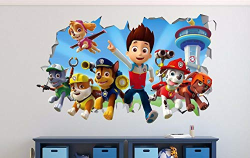 Paw Patrol Smashed 3D calcomanías de pared pegatinas para niños decoración vinilo mural cartel fiesta
