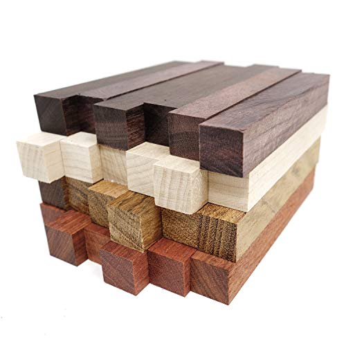 Exotic Wood Pen Blanks 24-Pack: Bloodwood, Mexican Ebony, Jatoba, Hard Maple, 6 of Each Wood Type, 5 x 3/4 x 3/4 inches