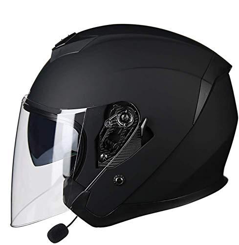 MTTKTTBD Bluetooth Casco Jet Moto,ECE Omologato,Unisex Casco Moto con Anti-Fog Doppia Visiera,Adulto Casco Cross off-Road con Microfono Incorporato per Risposta Automatica