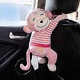 EKIMI Creative Monkey Tissue Box Cartoon Tissue Cover Paper Holder Napkin Box Paper Storage for Car Home Bathroom (Pink)