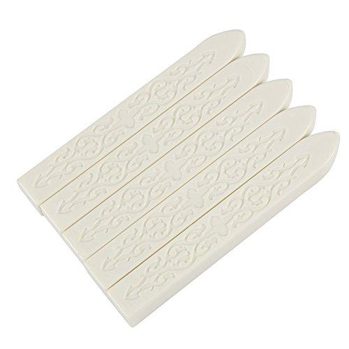 Ceralacca, per chiusura delle lettere, sigillo di cera, stile vintage, rétro, timbro per buste, per inviti, 5 pezzi bianco