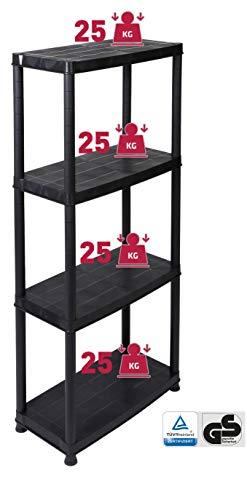 Haushaltsregal / Kellerregal / Werkstattregal, Kunststoff, ca. 130x60x30 cm, 4 Böden mit je 25 kg Tragkraft, schwarz