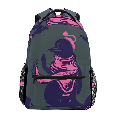 College Bag Penguin Pink Shoulder Bag Gift School Lightweight Bookbag Backpack Printed Stylish College Durable Student Unique Casual Travel