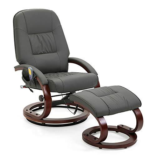 Mingone Massagesessel 8 Schwingmassagepunkte Relaxsessel Fernsehsessel mit Heizfunktion(Grau)
