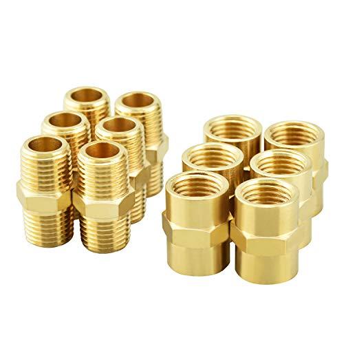 "Gasher 12PCS Metals Brass Pipe Fitting, Hex Nipple Brass Tone, 1/4"" x 1/4"" NPT Male Thread Pipe, 1/4Inch x 1/4Inch NPT Female Thread Pipe"