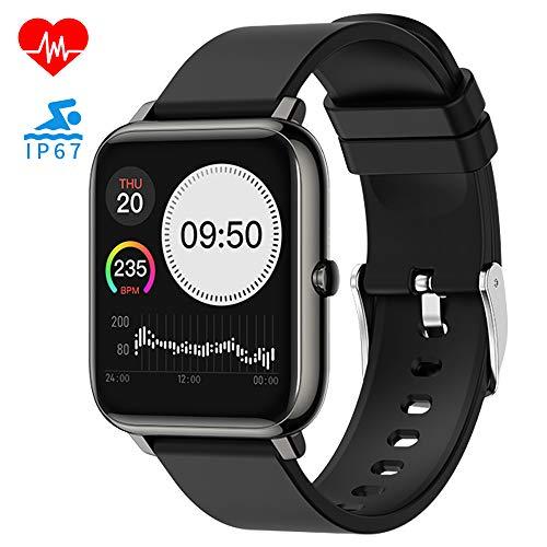 Smartwatch, 1.3 Zoll Touch-Farbdisplay Fitness Armbanduhr mit Pulsoximeter Pulsuhr Fitness Tracker IP67 Wasserdicht Sportuhr Damen Herren Smart Watch 180 mAh Bluetooth Musik für iOS Android