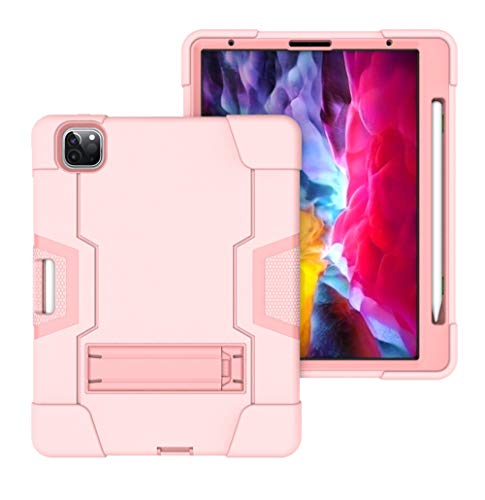 QYiD Case for iPad Air 10.9' / iPad Air 4th Generation 2020, heavy duty case with stand Shockproof Rugged Protection Cover with Built-in & Pencil Holder Stand for iPad Air 4 2020, Rosegold
