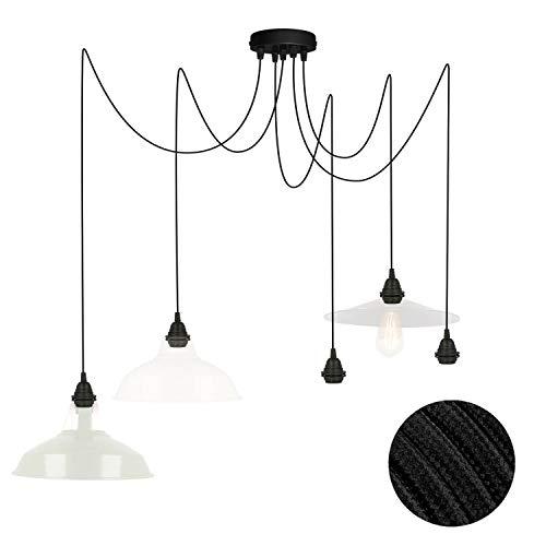 Pendelleuchte für Lampenschirm 5 fach Deckenlampe schwarz FL01 5x4 Meter