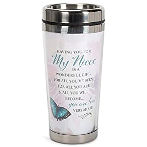 """Travel with this unique tumbler with full wrap around artwork design Artwork reads """"My Niece You Are Loved Very Much"""" in trendy font and is encouraging to the beholder Push top lid with silicone gasket seal and sliding closure to help keep temperatur..."""