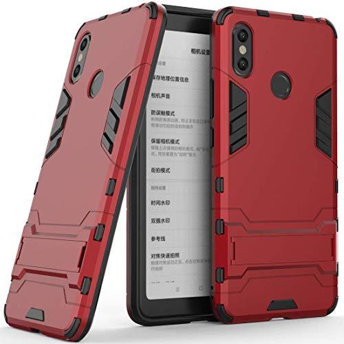 Funda para Xiaomi Mi MAX 3 (6,9 Pulgadas) 2 en 1 Híbrida Rugged Armor Case Choque Absorción Protección Dual Layer Bumper Carcasa con Pata de Cabra (Rojo)