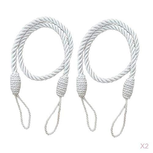 Homyl 4er-Set Raffhalter Seilhalter Gardinen Vorhänge Deko Kordel aus Polyester - Weiß 1