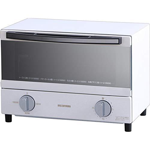 アイリスオーヤマ スチーム オーブントースター 2枚 焼き 温度調節 トレー タイマー機能付 横型 ホワイト S...