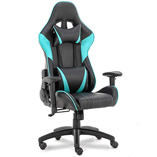 Adjustable Executive Computer Chair Home WCG Men Gaming Chair Racing Seat High Back Lumbar Support Office Chair Large Size PU Leather Swivel Chairs Ergonomic Chair Blue blue chair gaming