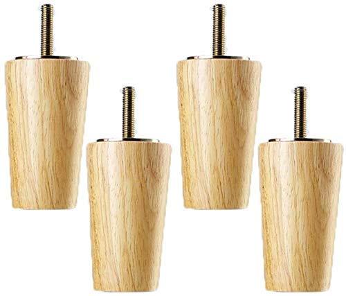4 piezas de patas de madera para mesa de madera maciza, patas cónicas para muebles, patas de muebles para sofá cama, armario, silla, patas de sofá, patas de madera para muebles, rosca M8 (tamaño: 20