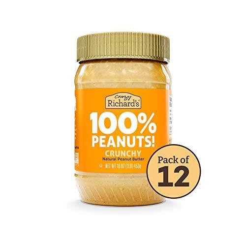 100% All-Natural Crunchy Peanut Butter, No Added Sugar Peanut Butter Bulk Pack of 12 x 16oz –...