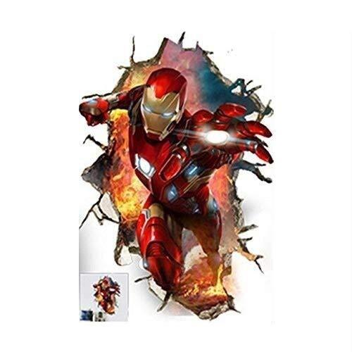 LCFF Pegatinas de Pared 60x90cm habitación Ironman Pared 3D Pegatina Iron Man superhéroe Avengers murales Pintado Decorativo Cartel extraíble Auto-Adhesivo de niños decoración de la Pared