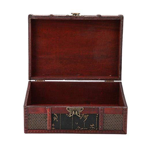 Caja del tesoro, caja de almacenamiento portátil de gran tamaño de 9.1 x 6.3 x 3.9 in, decoración de la habitación para guardar joyas, libros, decoración del hogar (estilo chino con cerradura)