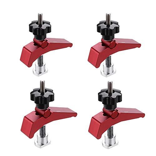 Aluminiumlegierung Schnellspanner Niederhalter T-Nut T-Schienensatz Holzbearbeitungswerkzeuge (4 Stück)