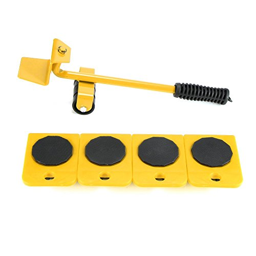 Houkiper Heavy Duty Möbel Mover Set, 5 Stück Möbel Objektträger Kit arbeitssparende Möbel Trolley Lifter Mover Möbel Roller bewegen Werkzeuge (Yellow)