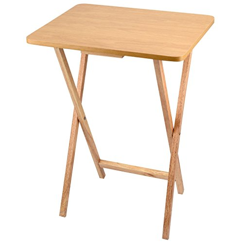 Unibos Rubberwood Folding Wooden TV Table With Wood Pine Finish - Ideal For T.V. Dinners