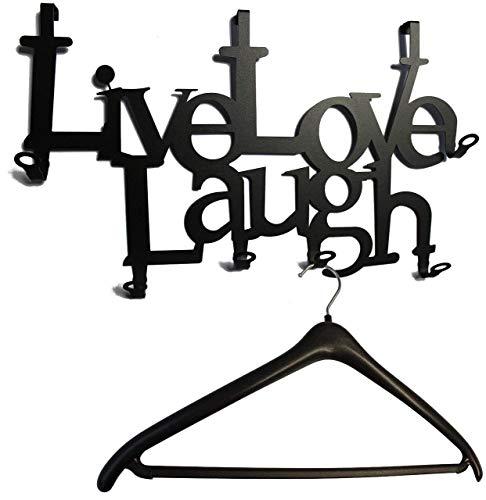Live Love Laugh - Türgarderobe - Tür-Garderoben-Haken - Lebe Liebe Lache (schwarz)