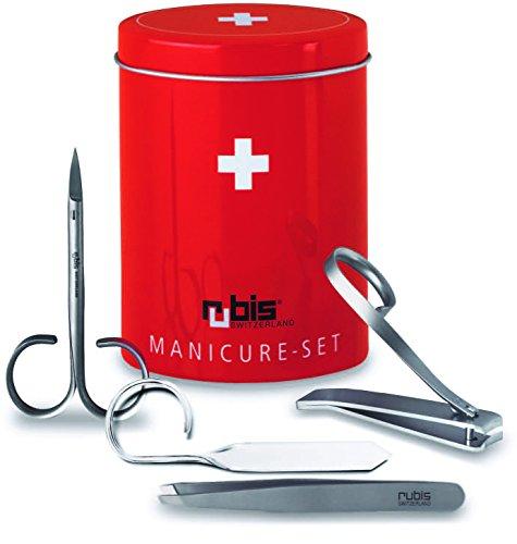 Rubis 1k450 Set manucure 4 pièces, en boîte décorée (coupe-ongles, ciseaux à envies, pince à épiler, lime verre)