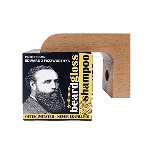 Professor Fuzzworthy's Beard Shampoo & Magnetic Soap Holder Men's Grooming Gift Kit | 100% Natural Beard Wash with Organic Ingredients- Eco Friendly Wooden Soap Dish Dispenser for Shower Bath Kitchen
