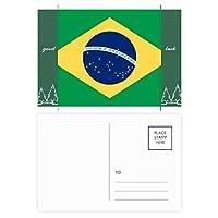 ブラジル国旗の南のアメリカ 国シンボルマークパターン グッドラック・ポストカードセットのカードを郵送側20個