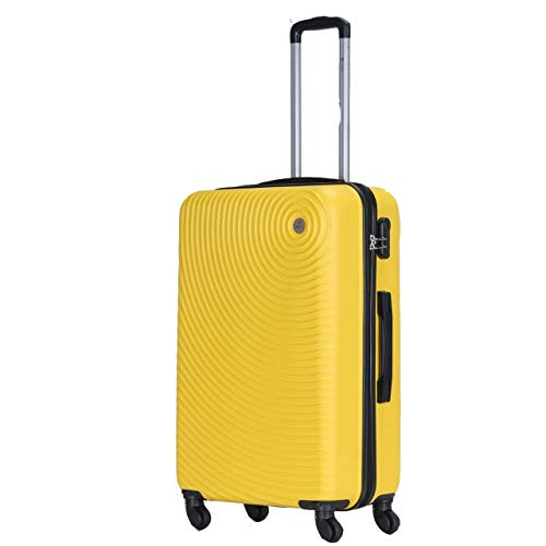 Spritz Air Suitcase Trolley Carry On Hand Cabin Luggage Hard Shell Travel Bag Lightweight Durable 4 Spinner Wheels 4 Sizes (Yellow, Medium)