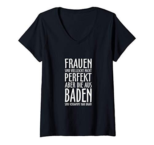 Damen Badische Frauen (Weiß) Baden T-Shirt mit V-Ausschnitt