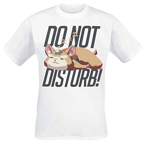 Overwatch Do Not Disturb Hombre Camiseta Blanco M, 100% algodón, Regular