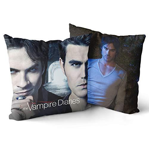 Fafan Vampire Diaries Pillow Cases Zippered Damon Salvatore Cushion Cover 18x18 Custom Ian Somerhalder 2 Pillow Covers Black for Living Room Bed Sofa Set 18x18