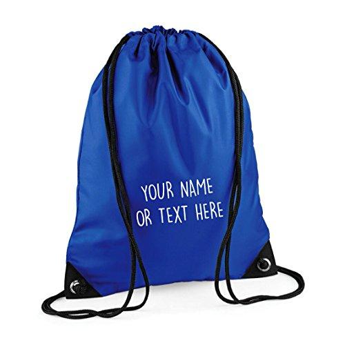 MYOG  Personalised Premium Drawstring Bag PE Gym Kit School P.E Kids Sport Rucksack (22 Colours) (Bright Royal)