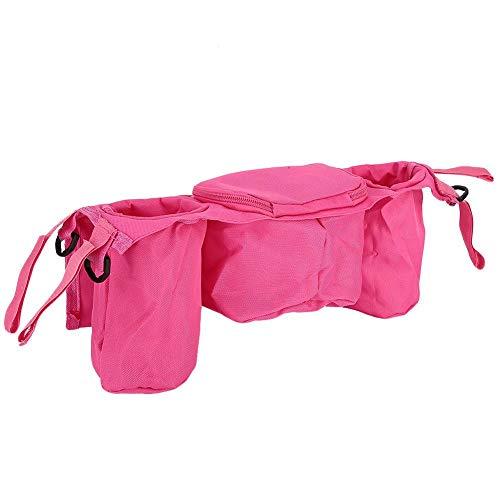 Bolsa organizadora para cochecito, práctico diseño de gancho y bucle, diseño de cremallera, tela Oxford, duradera, organizador para cochecito con(Pink)