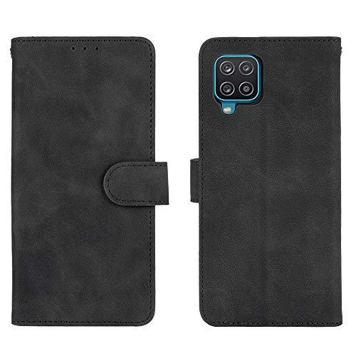 GOGME Leather Folio Funda para Samsung Galaxy A12 / M12 Funda, Flip Wallet Carcasa Tipo Libro Protector Magnético y Plegable de PU + TPU Soporte de Ranuras para Tarjetas, Negro
