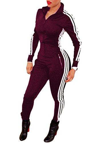 Bodycon4U Women Lycra Spandex Zentai Long Sleeve Unitard Bodysuit Jumpsuit (XL, Wine Red)