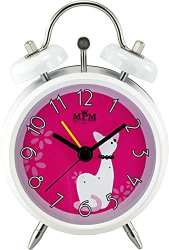 MPM Pink Girl Alarm Clock - Kinderwecker, Kinderwecker ohne Ticken analoger Doppelglockenwecker für Mädchen Nachttisch Kinderzimmer