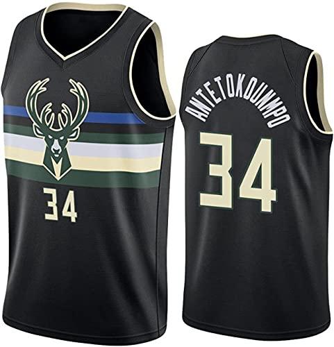 YCJL Camiseta De Baloncesto para Hombre Bucks # 34 Antetokounmpo Classics Camiseta...