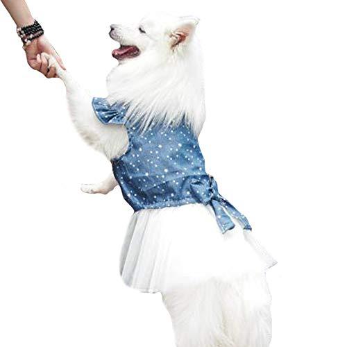 FLAdorepet Polka Dot Big Large Dog Princess Dress Tutu Skirt Golden Retriever Pitbull Summer Dog Clothes Hoodie Costume (XXL, Blue)