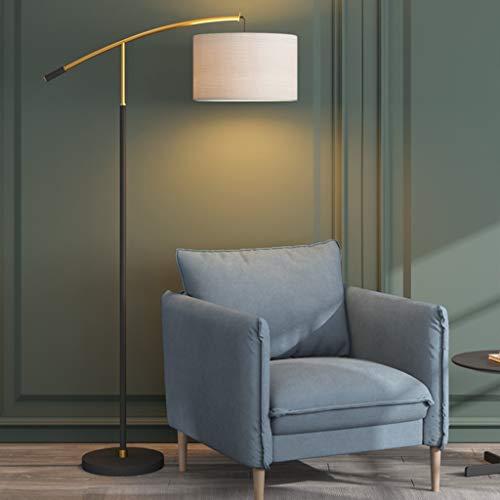 Lámparas de pie LED de hierro con pantalla de tela blanca, protección de los ojos, lámparas de pie para sala de estar, dormitorio, mesita de noche, oficina, estudio