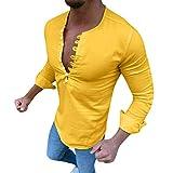 Dtuta Herren Bekleidung Sale,Langarmshirts,Hemden,Retro DüNne BeiläUfige Art- Und Weisewilder Trend-Normallack-Baumwolllange HüLsen-KnöPfe Brustmuskel Tops T-Shirt MäNner