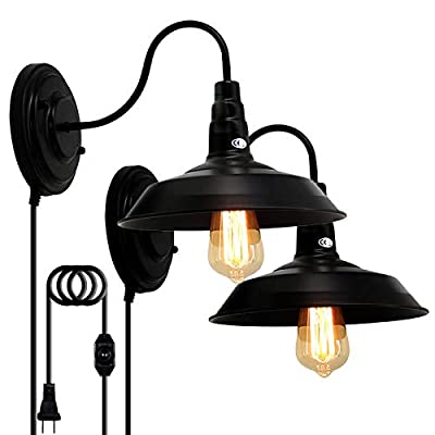LIGHTESS Plug in Wall Sconces Black with Dimmer Switch, Gooseneck Lighting Industrial Barn Lights Vintage Farmhouse Wall Lamp, CY-8B, Pack of 2
