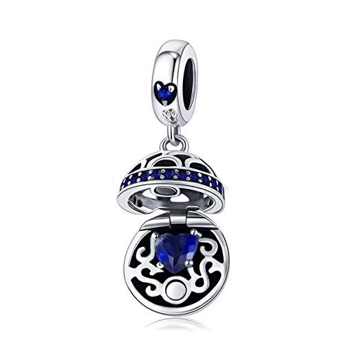 Charm-Anhänger mit offenem Herz, Sterlingsilber, mit blauer Zirkonia, für Schlangenkette, Armband, Halskette