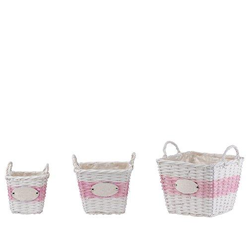 Panier de Sweet Garden 3tlg. rectangulaire osier blanc rose